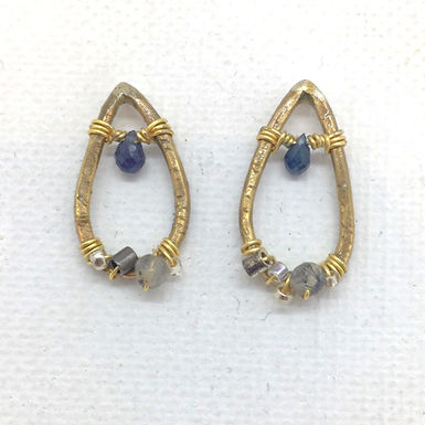 Sapphire Smoky Quartz Beaded Earrings by Petite Sunflower Shop