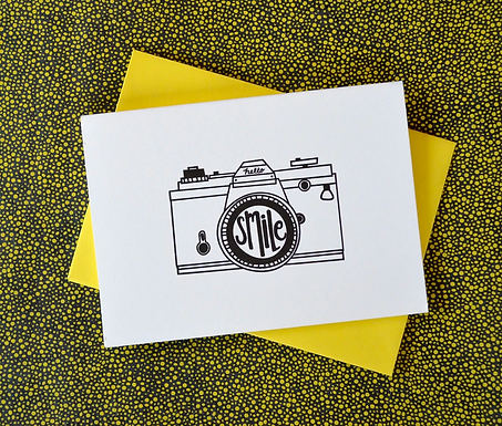 Letterpress Smile Camera Card by Pennie Post