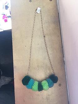 Green 7 Pom Pom Necklace by Crystal Vielula