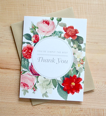 Vintage Floral Thank You Card by Pennie Post
