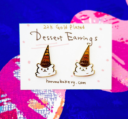 Dessert Ice Cream Bear Enameled Stud Earrings by Harumo Bakery