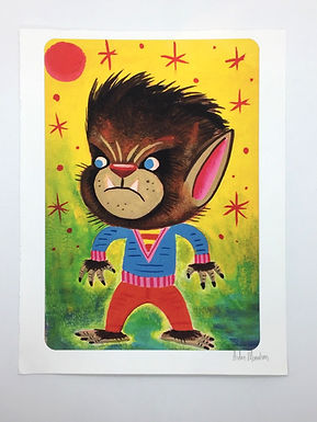 Kawaii Wolf Boy Signed Print by Aidan Monahan