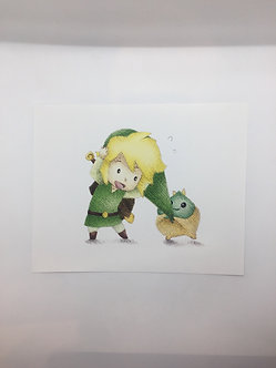 Link and Korok Print by Ria Art