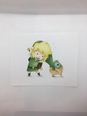 Link and Korok Print by Ria Art