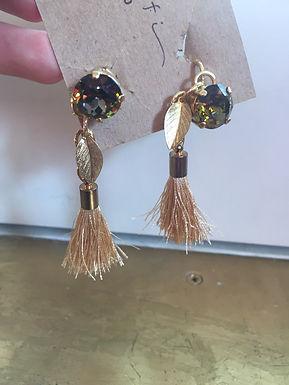 Swarovski Tassel Clip On Earrings by Yudefi