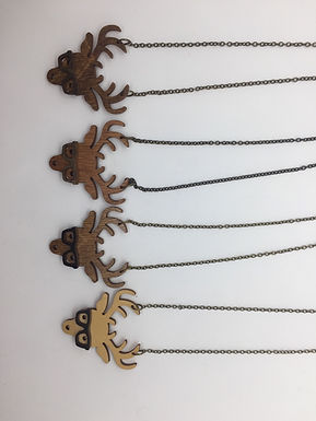 Deer Eyeglasses Wooden Necklace by Unpossible Cuts