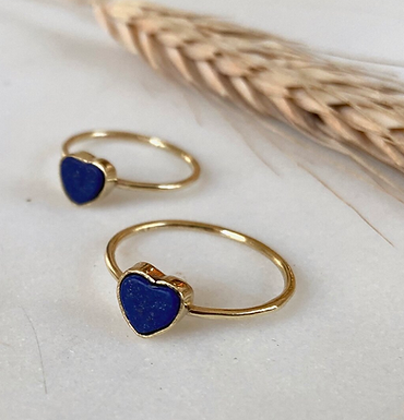 Lapis Lazuli Heart Ring by Opal & Gold