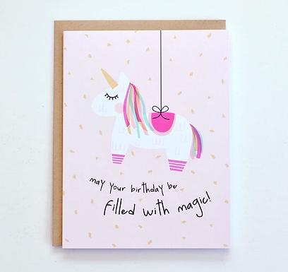 Unicorn Piñata Birthday Card by Pennie Post
