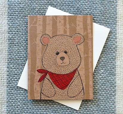 Bandana Bear of Kraft Card by Pennie Post