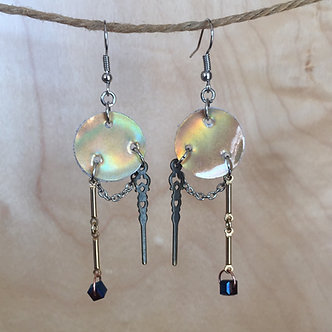 Pearlescent Spike and Cube Earrings by Emily Brooks