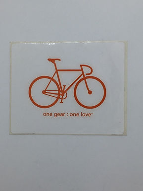 """""""One gear: one love"""" bicycle Sticker"""