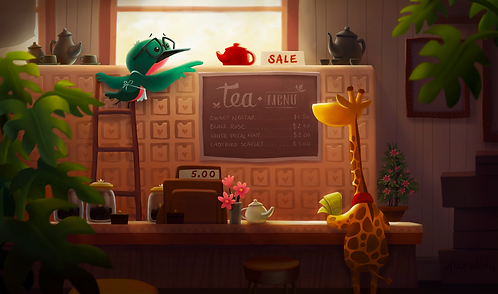 Hummingbird's Tea Shop Print by Alice Wong