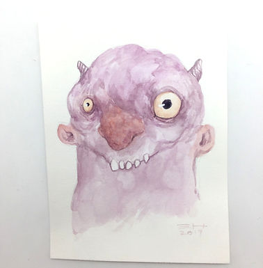 Monster Original Watercolor by Emily Hare