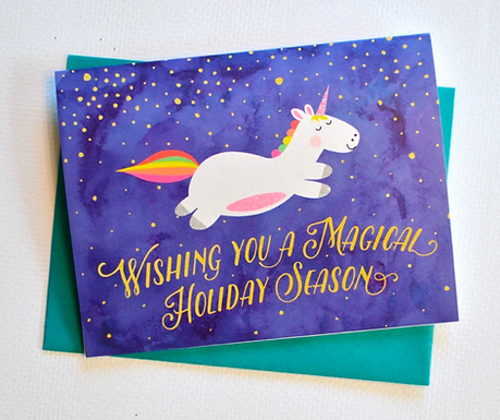 Magical Unicorn Holiday Card by Pennie Post