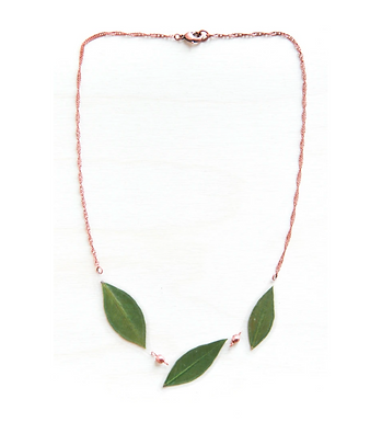 Green Myrtle Leaf and Copper Bead Necklace by Impressed by Nature