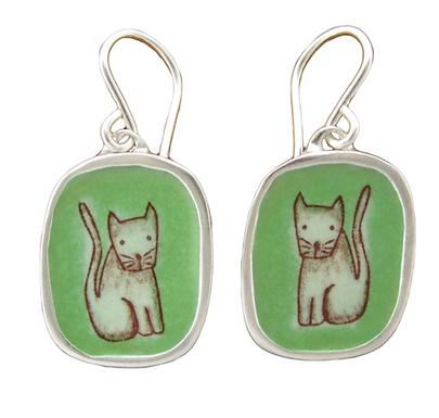 Enameled Cat Earrings by Mark Poulin