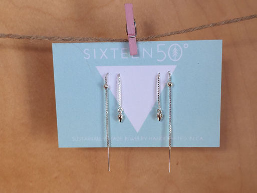 Silver Threaded Earrings by Sixteen50
