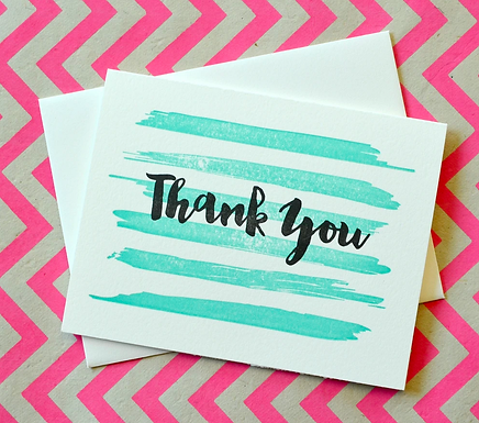 Mint Paint Strokes Thank You Card by Pennie Post