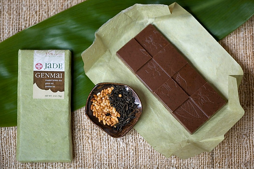 "35% ""Genmai"" Roasted Rice + Tea Chocolate Bar by Jade Chocolates"