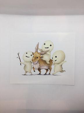 Princess Mononoke Spirits and Yakul Deer Print by Ria Art