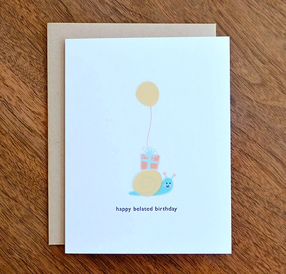 Snail Belated Birthday Card by Pennie Post