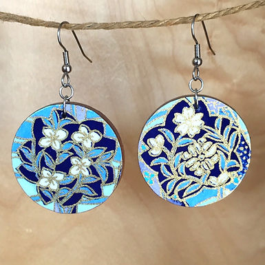 Large Floral Circle Drop Earrings by Chibi Jay Designs