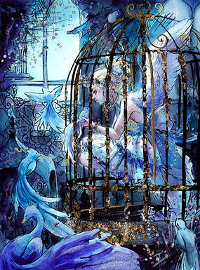 """Birdcage"" Signed Gold Foil Print by Heidi Black"