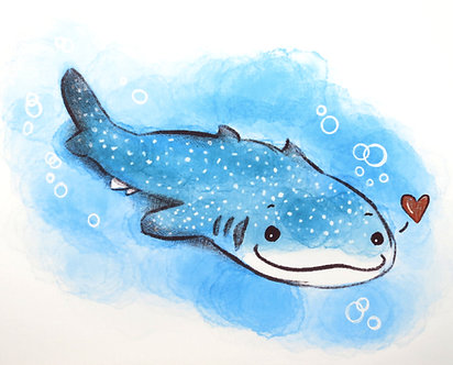 Whale Shark Print by Ria Art
