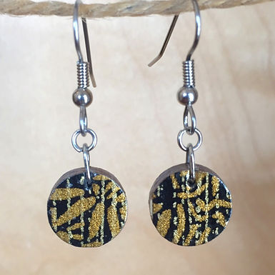 Small Black and Gold Circle Drop Earrings by Chibi Jay Designs