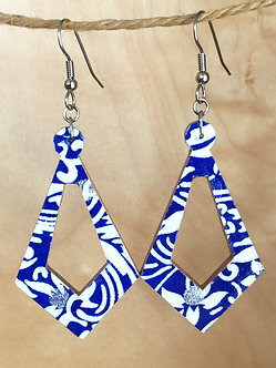Large Blue and White Earrings by Chibi Jay Designs