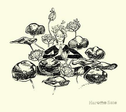 Yoga Golden Lotus Print by Harumo Sato