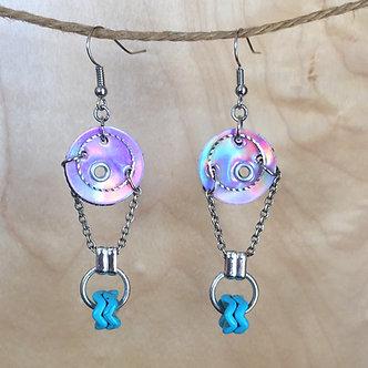 Purple Oil Slick Earrings by Emily Brooks