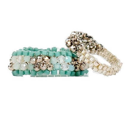 Aquamarine Sparkly Stitched Ring Set by Petite Sunflower Shop