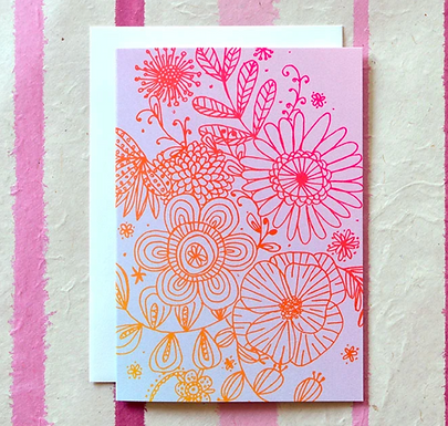 Shimmery Floral Illustration Card by Pennie Post