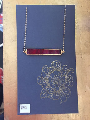 Red Glass and Gold Necklace