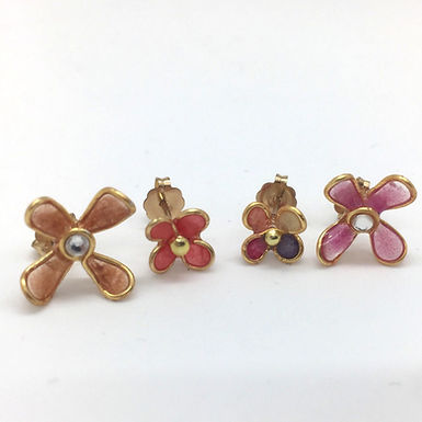 Pink Wildflower Stud Earrings Set by Petite Sunflower Shop