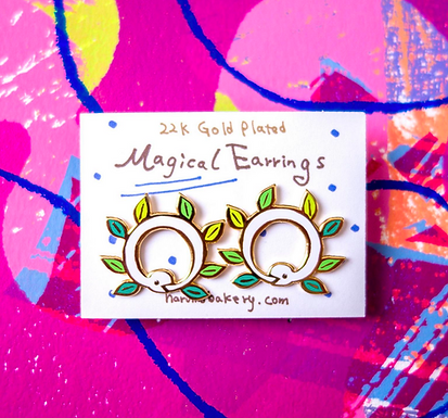 Magical Ouroboros Enameled Stud Earrings by Harumo Bakery