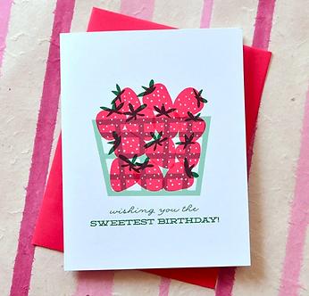Sweet Strawberry Birthday Card by Pennie Post