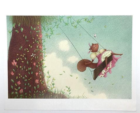 Swinging Squirrel Print by Ria Art