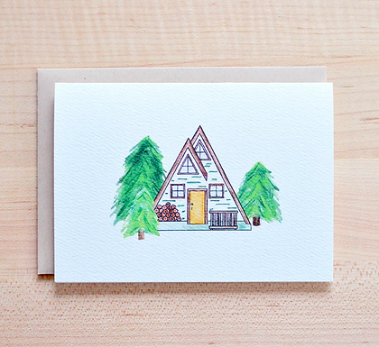 A-Frame Cabin in the Woods Card by Pennie Post