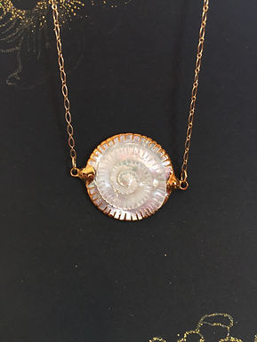 Gold and Carved Shell Spiral Necklace