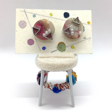 Resin Bead Stud Earrings by Petite Sunflower Shop