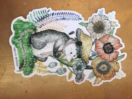 Opossum Flower Sticker by Marika Daz Illustration