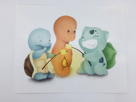 Pokemon Marshmallow Roast Print by Ria Art