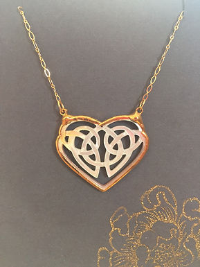 Gold and Carved Shell Heart Necklace
