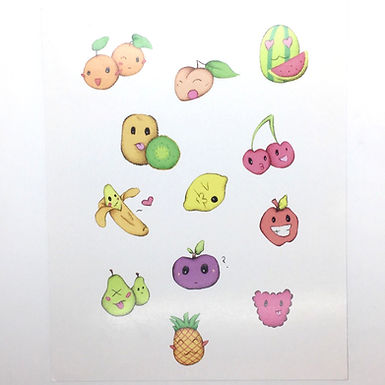 Cute Fruits Print by Ria Art