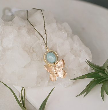Turquoise Butterfly Mobile Necklace by Opal & Gold