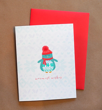 Penguin Warmest Wishes Card by Pennie Post