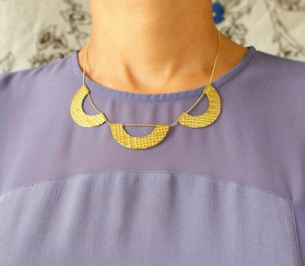 Vintage Textured Scallop Necklace by Sora Designs - 3 Scallop pieces