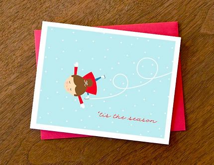 """'Tis the Season"" Ice Skating Girl Card by Pennie Post"